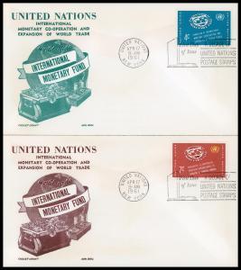 UN FDC #90-91 Seal of International Monetary Fund - Cachet Craft - Boll Cachet