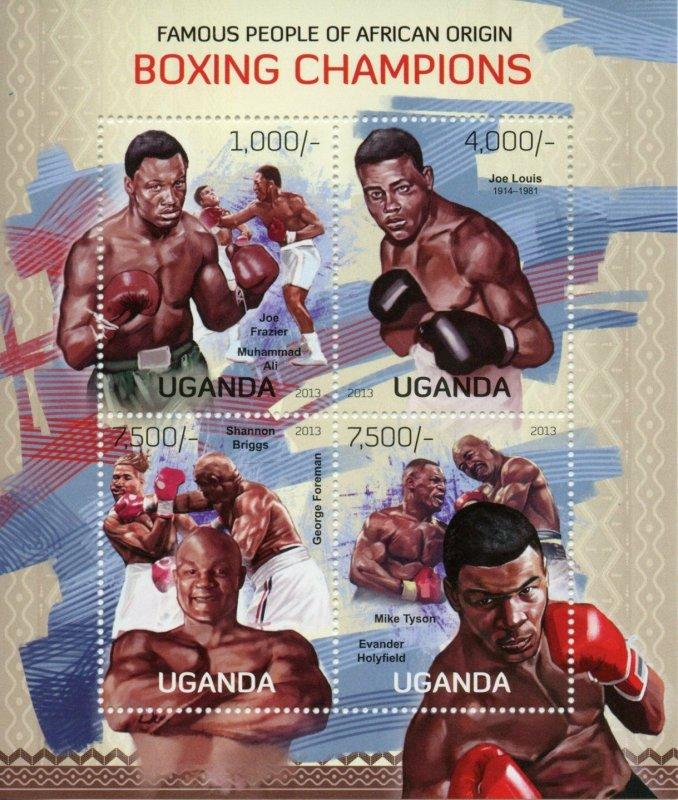 Uganda Boxing Stamps 2013 MNH Muhammad Ali Mike Tyson George Foreman 4v M/S