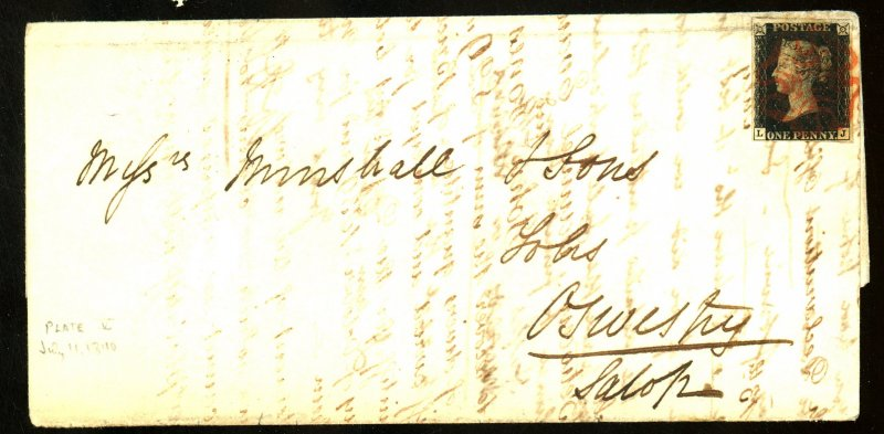GB #1 on Cover PL#5 7/11/1840 Red cancel Cat $ 900.00