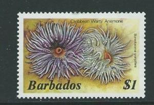 BARBADOS SG775a 1985 $1 CARIBBEAN WARTY ANEMORE MNH