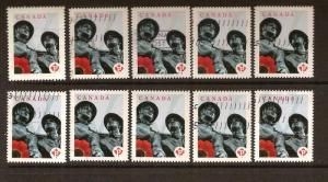 CANADA 10XSTAMPS USED LEST WE FORGET LOT#173