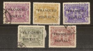 Peru 1941 Franqued Postal Opt's SG670-674 Fine Used