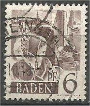 GERMANY, Baden 1948, used 6pf Constance, Scott 5N15