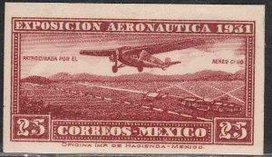 MEXICO C37a, 25¢ AERONAUTIC EXHIBITION, IMPERF. SINGLE. UNUSED H OG. F-VF.