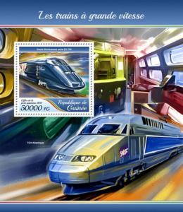 GUINEA - 2017 - High Speed Trains - Perf Souv Sheet - MNH