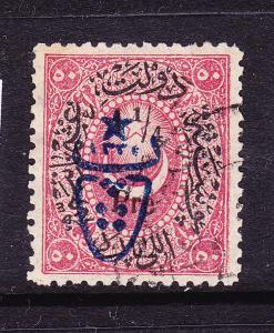 TURKEY  1917  1/4pi on 10pa  ROSE  OVPT  FU   Sc 459