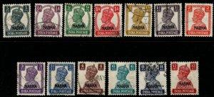 INDIA-NABHA SG105/17 1940-3 DEFINITIVE SET USED(9p DAMAGED)