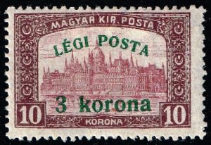 HUNGARY STAMP 1920 Airmail - Parliament Stamp of 1917 Surcharged  3/10 KR MH/OG