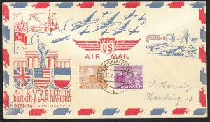 GERMANY BERLIN Sc#9N43, 45 One Year Berlin Airlift Cover cancelled 6-23-1949