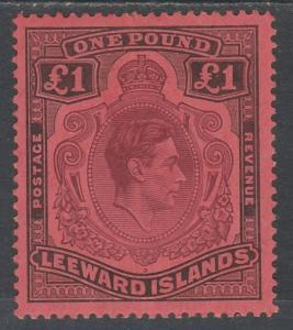LEEWARD ISLANDS 1938 KGVI 1 POUND PURPLE AND BLACK /CARMINE PERF 14