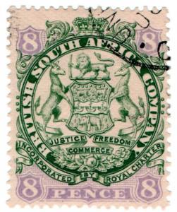 (I.B) Rhodesia/BSAC Revenue : Duty Stamp 8d