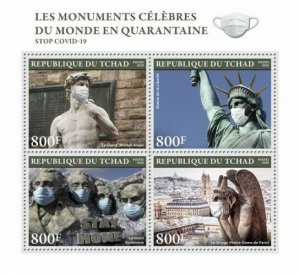 Stamps CHAD (TCHAD) / 2020 - Famous monuments of the world in quarantine
