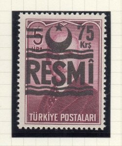 Turkey 1955-57 Early Issue Fine Mint Hinged 75k. Surcharged Resmi Optd NW-18232