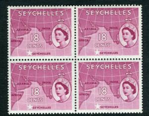 SEYCHELLES; 1954 early QEII issue fine Mint BLOCK of 18c. value