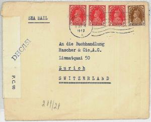 INDIA -  POSTAL HISTORY :  COVER to SWITZERLAND - SEA MAIL - CENSOR TAPE 1942