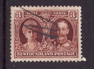 Newfoundland- Sc#165-used 3c KGV & Queen Mary-id4-1929-31-