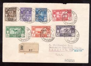 Libya #B23 - #B29 (Sassone #87 - #93) XF Used On Registered Cover To USA