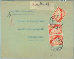 86096 - PERU - POSTAL HISTORY -  REGISTERED COVER to  ARGENTINA 1939