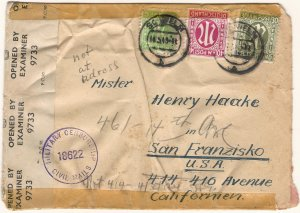 Germany A.M.G. 1946 Censored Cover from SCHWELM (N.Rhine-Westfal.) to California
