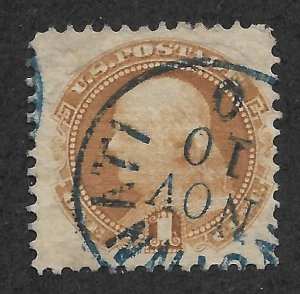Doyle's_Stamps:1869 Buff Franklin Pictorial w/Blue Ohio CDS Canx Scott  #112
