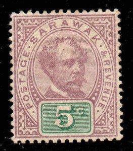 Sarawak 1888  5c purple & green SG 12 mint CV £42