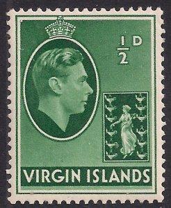 British Virgin Islands 1938 - 47 KGV1 1/2d Green MM SG 110a ( E963 )