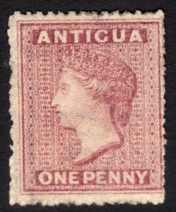 Antigua Queen Victoria 1p dull rose watermark 5: Star CV Perf $135.00 MNG