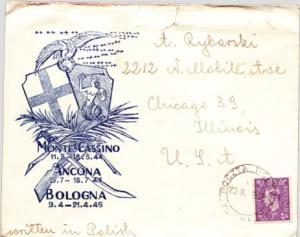 Poland Great Britain 3d KGVI 1946 Poczta Polowa, 140 to Chicago, Ill.  Monte ...