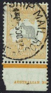 AUSTRALIA 1931 KANGAROO 5/- WMK C OF A USED PART IMPRINT