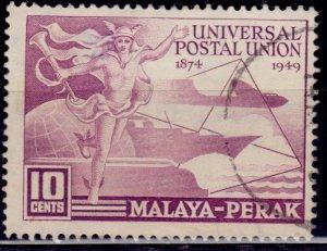 Malaya, Perak 1949, UPU Issue, 10c, Scott# 101, used