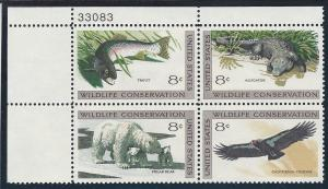 1427 30 Plate block 8cent Wildlife Conservation Trout Condor