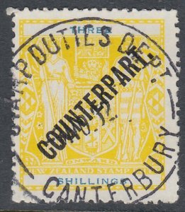 NEW ZEALAND Revenue : 3/- Arms overprinted COUNTERPART fine used............K601
