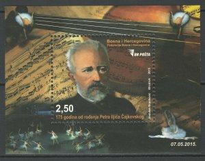 Bosnia and Herzegovina 2015 Music Famous People Tchaikovsky MNH Block