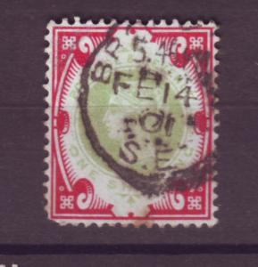 J17673 JLstamps 1887-92 great britain used #126 queen $145.00 scv a short perf