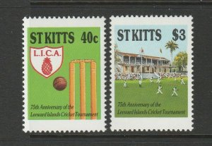 St Kitts 75th Anniv of Leewards Cricket Tournament UM/MNH SG 261/2