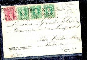 CHILE  (P3108B) 1906  2C COLUMBUS + 1CX3  ON PPC IOUIQUE TO  FRANCE
