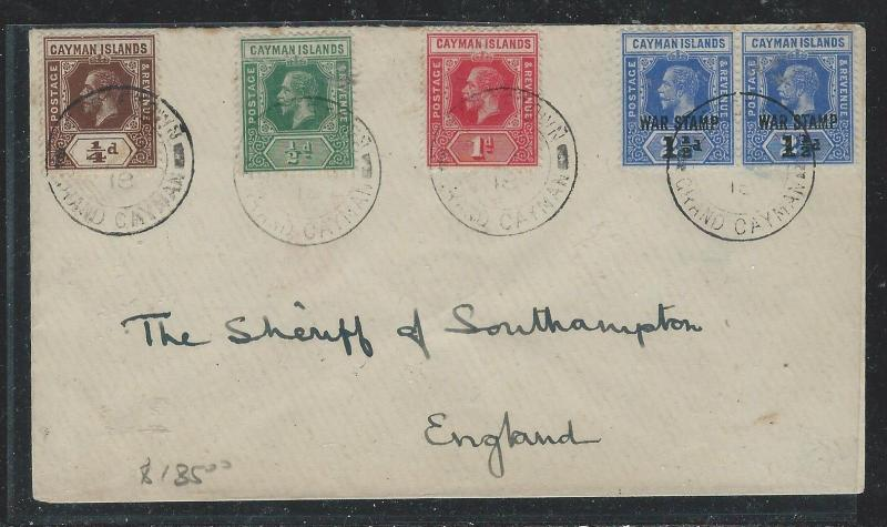 CAYMAN ISANDS (P1706B) 1918 KGV   5 STAMP FRANK  COVER TO ENGLAND