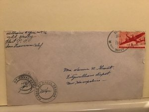 U.S. Naval  Censor 1944 with letter Airmail cover Ref R25510
