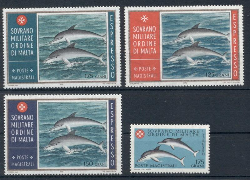 Dolphins Marine Fauna Animals Sovereign Order of Malta 4 MNH stamps set