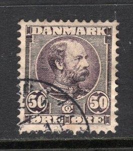 Denmark 1905 King Christian 50 ore Violet Used Key Value #68 CV$120