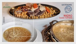 Stamps Spain 2021- Spain In 19 Dishes - Madrid Stew - Mint - Miniature Sheet.