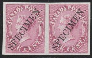 CANADA 1859 1c Rose imperf plate proof pair on India paper : SPECIMEN......29207