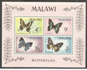 MALAWI 40A, MNH, SOUVENIER SHEET W/4 STAMPS, BUTTERFLIES