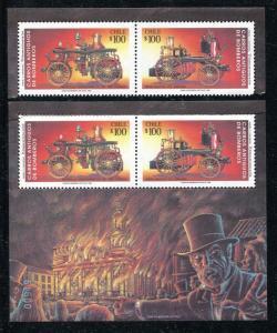 Chile 1047-1048a, MNH Fire Trucks 1993. x29974