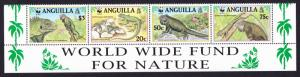 Anguilla WWF West Indian Iguana Strip of 4v with WWF text SG#1004-1007 SC#968