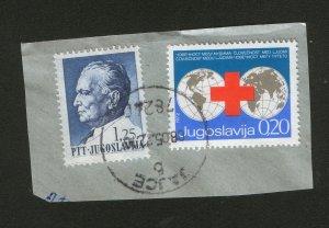 YUGOSLAVIA-FRAGMENT-RED CROSS-SEAL JAJCE, BOSNIA-1972.