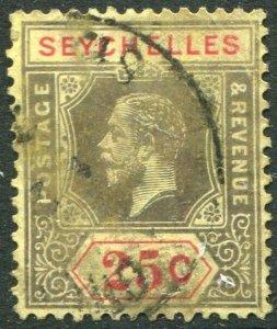 SEYCHELLES-1920 25c Black & Red/Buff Sg 89 GOOD USED V48888