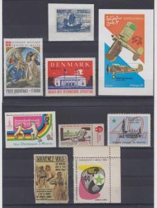 WORLDWIDE 1920-80 CINDERELLA 9 ITEMS ON CARDS OLYMPICS, SPORTS, ESPERANTO MINT+