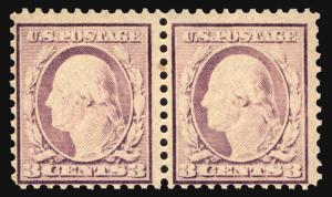#502 3c Dark Violet 1917 Under Inked Pair Error *MNH*