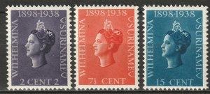 Suriname 1938 Sc 164-6 set MNH**